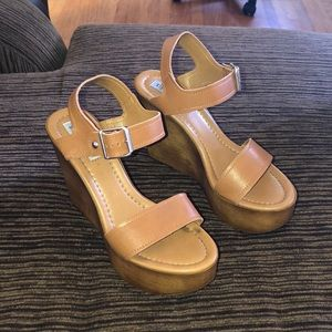 Steve Madden Candis wood wedge sandals 10